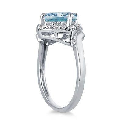 2 1/2 Carat Cushion Cut Aquamarine and Diamond Ring in 10K White Gold