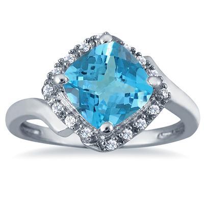 2 1/2 Carat Cushion Cut Blue Topaz and Diamond Ring in 10K White Gold