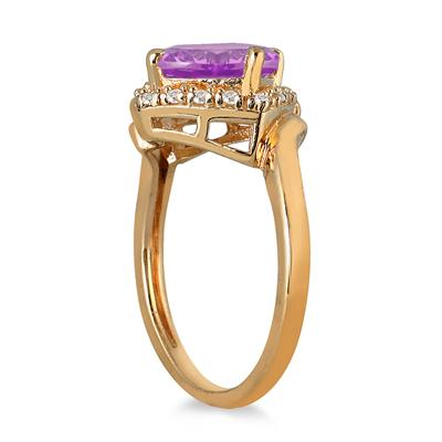2 1/2 Carat Cushion Cut Amethyst and Diamond Ring in 10K Yellow Gold