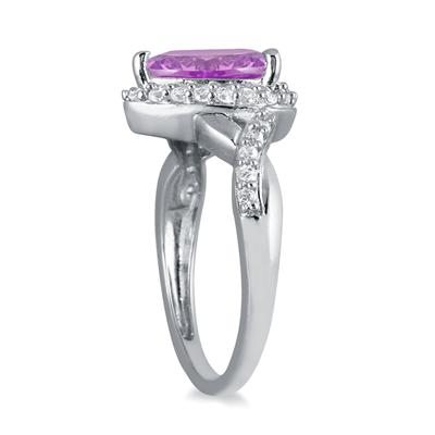 1 1/2 Carat Pear Shape Amethyst and Diamond Ring in 10K White Gold
