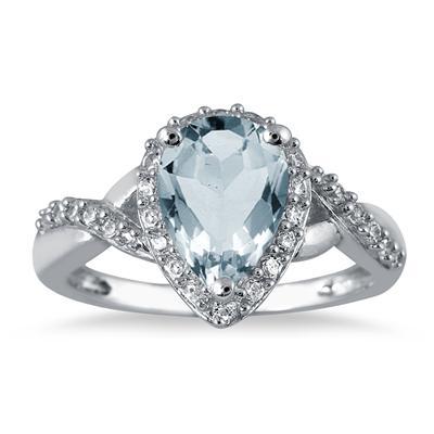 1 1/2 Carat Pear Shape Aquamarine and Diamond Ring in 10K White Gold