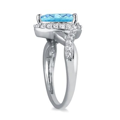 1 1/2 Carat Pear Shape Blue Topaz and Diamond Ring in 10K White Gold