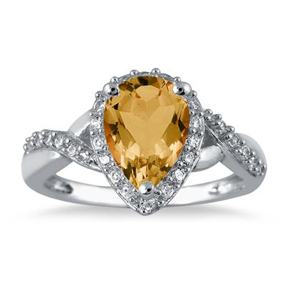 1 1/2 Carat Pear Shape Citrine and Diamond Ring in 10K White Gold