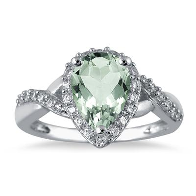 1 1/2 Carat Pear Shape Green Amethyst and Diamond Ring in 10K White Gold