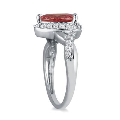 1 1/2 Carat Pear Shape Garnet and Diamond Ring in 10K White Gold