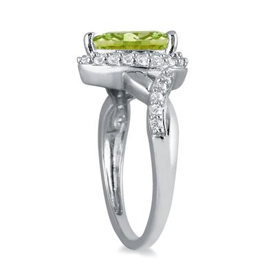 1 1/2 Carat Pear Shape Peridot and Diamond Ring in 10K White Gold