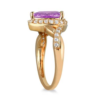 1 1/2 Carat Pear Shape Amethyst and Diamond Ring in 10K Yellow Gold