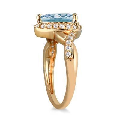 1 1/2 Carat Pear Shape Aquamarine and Diamond Ring in 10K Yellow Gold