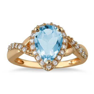 1 1/2 Carat Pear Shape Blue Topaz and Diamond Ring in 10K Yellow Gold