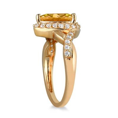 1.50  Carat Pear Shape Citrine and Diamond Ring in 10K Yellow Gold