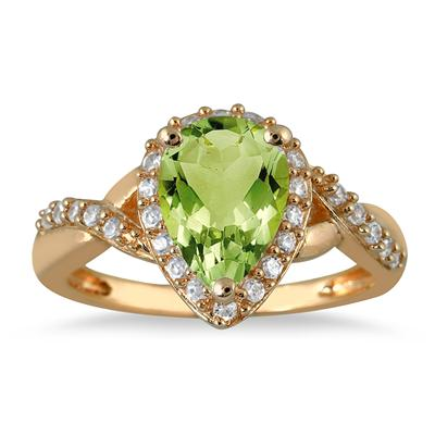 1.50  Carat Pear Shape Peridot and Diamond Ring in 10K Yellow Gold