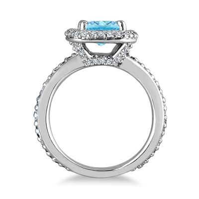 Radiant Cut Blue Topaz and Diamond Ring in 14K White Gold