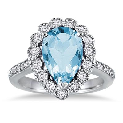 5 Carat Pear Shape Blue Topaz and Diamond Ring in 14K White Gold