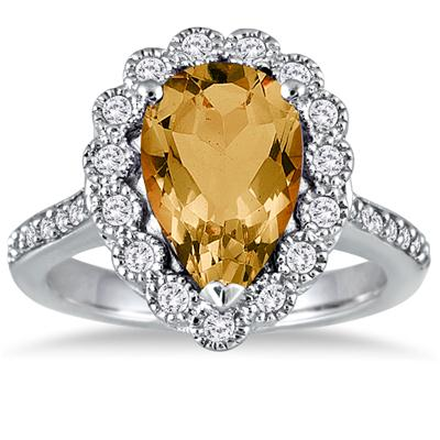 5 Carat Pear Shape Citrine and Diamond Ring in 14K White Gold