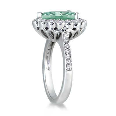 5 Carat Pear Shape Green Amethyst and Diamond Ring in 14K White Gold