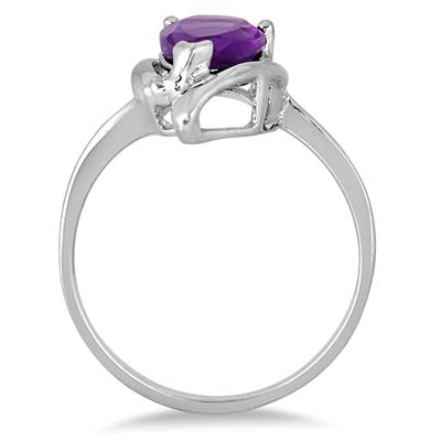 1.40 Carat Amethyst and Diamond Ring in .925 Sterling Silver