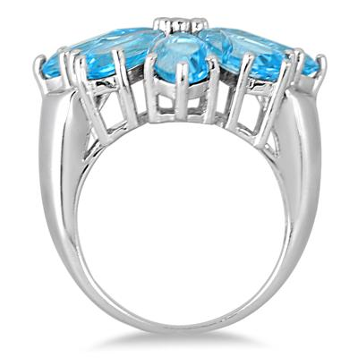 14.50 Carat Blue Topaz and Diamond Flower Ring in .925 Sterling Silver