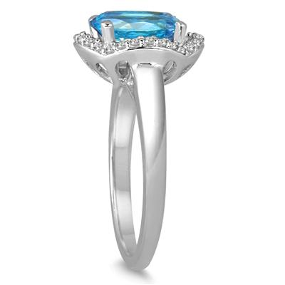 3 1/2 Carat Oval Blue Topaz and Diamond Ring in 14k White gold