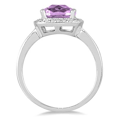 1.35 Carat Cushion Cut Amethyst and Diamond Ring in 14K White Gold