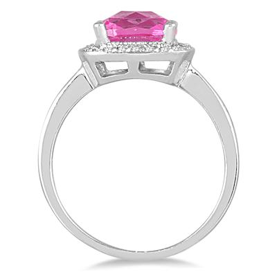 1.65 Carat Cushion Cut Pink Topaz and Diamond Ring in 14K White Gold