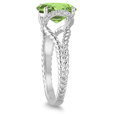 2 1/4 Carat Oval Peridot and Diamond Ring in 14K White Gold