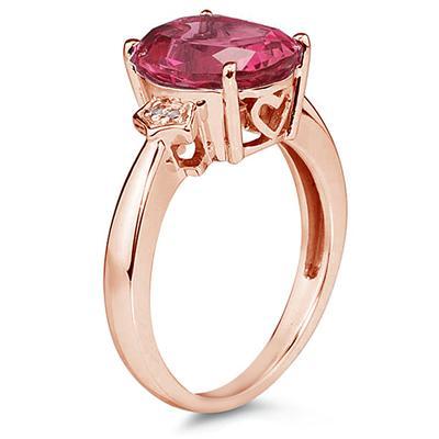 4 1/2 Carat Pink Topaz & Diamond Ring in 14K Rose Gold