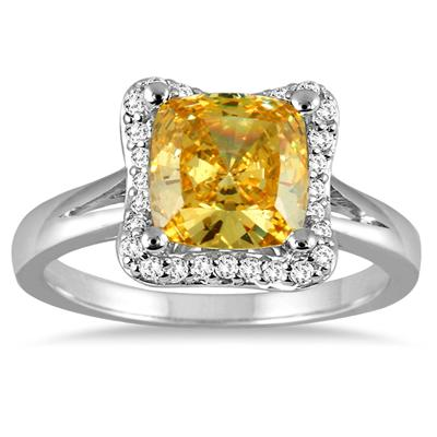 2 Carat Cushion Cut Citrine and Diamond Ring in 14K White Gold