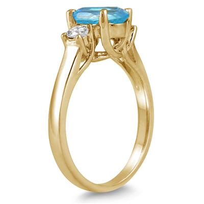 1 3/4 Carat Blue Topaz and Diamond Three Stone Ring 14K Yellow Gold