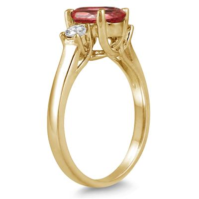 1 3/4 Carat Garnet and Diamond Three Stone Ring 14K Yellow Gold