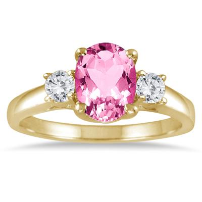 1 3/4 Carat Pink Topaz and Diamond Three Stone Ring 14K Yellow Gold