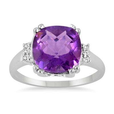 3.50 Carat Cushion Cut Amethyst and Diamond Ring in .925 Sterling Silver