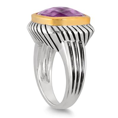 8 Carat Cushion Cut Amethyst Ring in 18K Gold Plated Sterling Silver