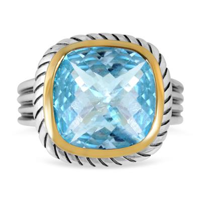 8 Carat Cushion Cut Blue Topaz Ring in 18K Gold Plated Sterling Silver