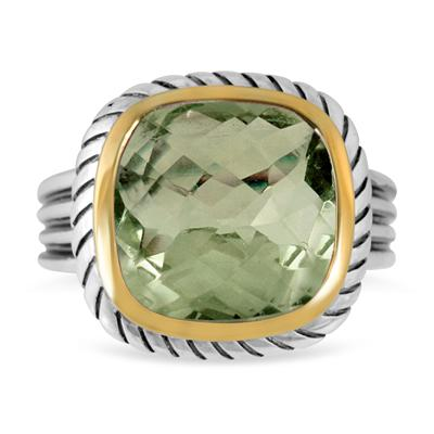 8 Carat Cushion Cut Green Amethyst Ring in 18K Gold Plated Sterling Silver