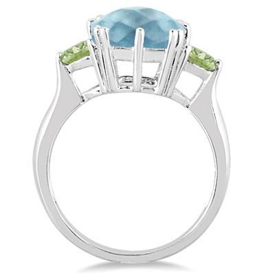 Cushion Cut Blue Topaz and Peridot Ring in .925 Sterling Silver
