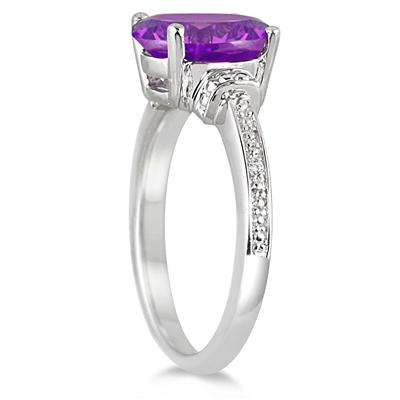 2.40 Carat Oval Amethyst and Diamond Ring in .925 Sterling Silver