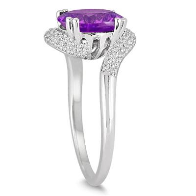 2 1/2 Carat Oval Shaped Amethyst and Diamond Curve Ring in 10K White Gold
