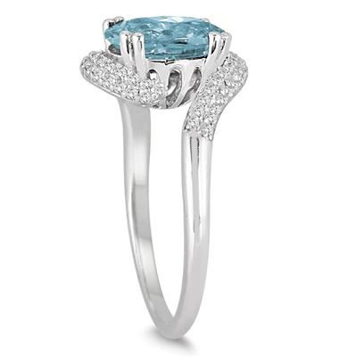 2 1/2 Carat Oval Shaped Aquamarine and Diamond Curve Ring in 10K White Gold