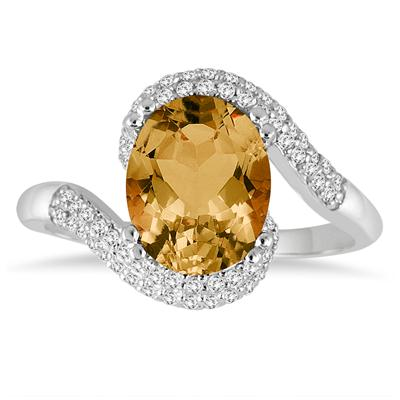 2 1/2 Carat Oval Shaped Citrine and Diamond Curve Ring in 10K White Gold