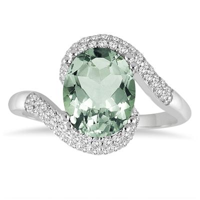 2 1/2 Carat Oval Shaped Green Amethyst and Diamond Curve Ring in 10K White Gold