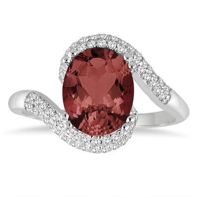 2 1/2 Carat Oval Shaped Garnet and Diamond Curve Ring in 10K White Gold