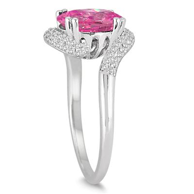 2 1/2 Carat Oval Shaped Pink Topaz and Diamond Curve Ring in 10K White Gold