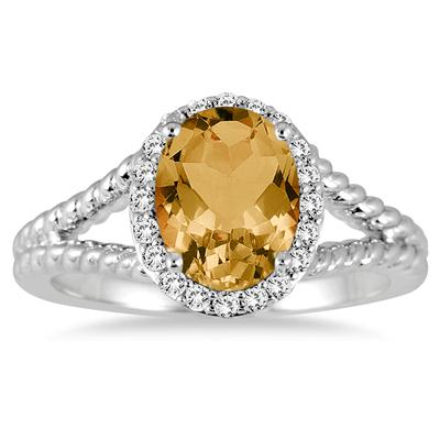 2 Carat Citrine and Diamond Ring in 10K White Gold