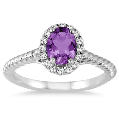 1 Carat Amethyst and Diamond Halo Rope Ring in 10K White Gold