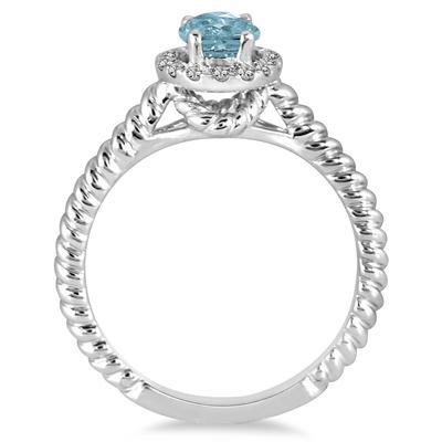 1 Carat Aquamarine and Diamond Halo Rope Ring in 10K White Gold