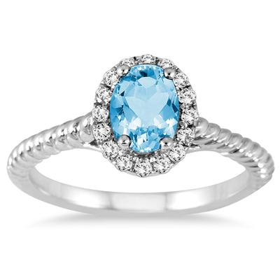 1 Carat Blue Topaz and Diamond Halo Rope Ring in 10K White Gold