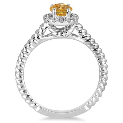 1 Carat Citrine and Diamond Halo Rope Ring in 10K White Gold