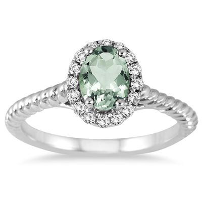 1 Carat Green Amethyst and Diamond Halo Rope Ring in 10K White Gold