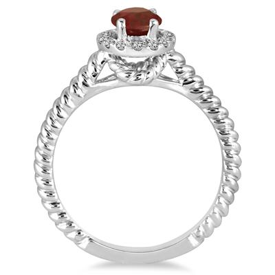 1 Carat Garnet and Diamond Halo Rope Ring in 10K White Gold