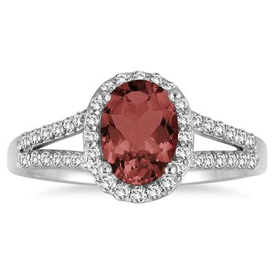 1 1/4 Carat Oval Garnet and Diamond Ring in 10K White Gold
